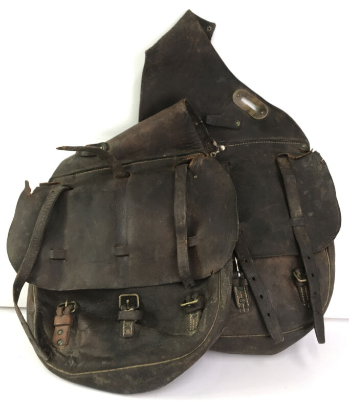 WW1 Era US Army Cavalry Leather Saddle Bags BOYT Western