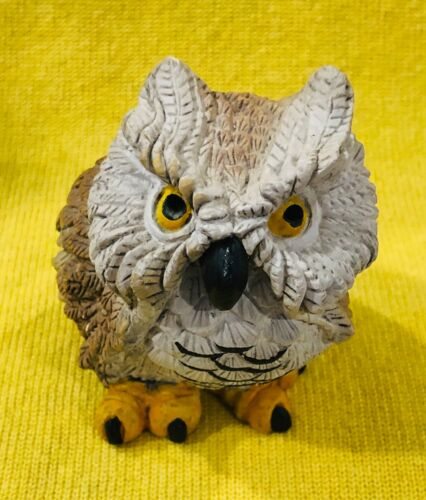 Vintage Stone Critter Great Horned Owl Horned With A Tude! 1982