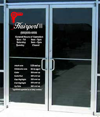 Custom Business Store Hours Custom Lettering Sign Vinyl Sticker Window Door