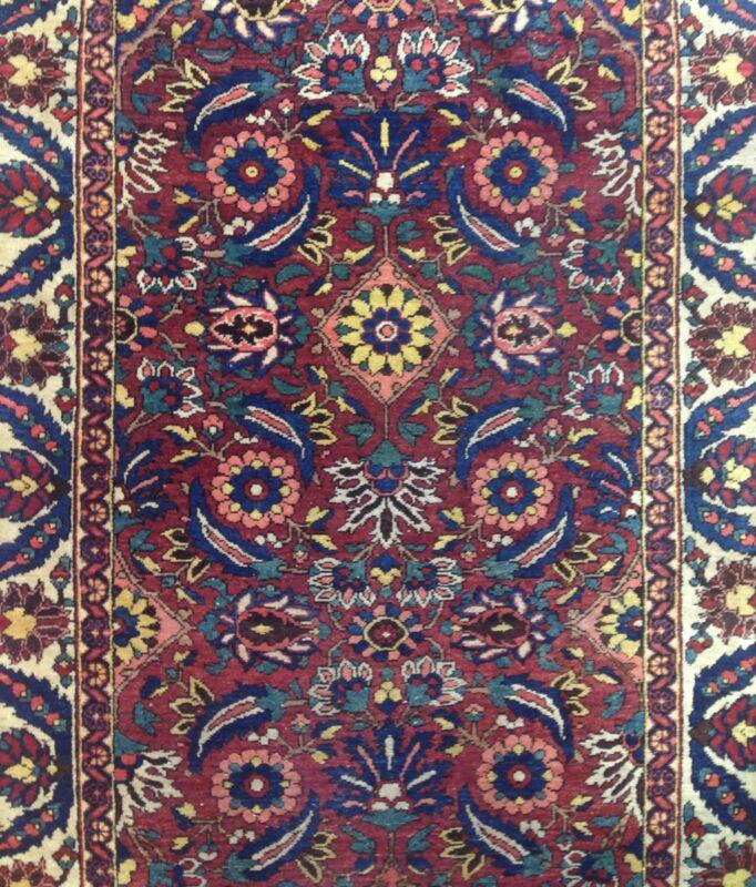 Fantastic Floral -1900s Antique Saman Rug - Handmade Runner - 3.6 X 10 Ft