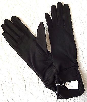 Vintage ladies nylon gloves 1950s UNUSED Ivanhoe brown ruched Size 6 1/2 7 7 1/2