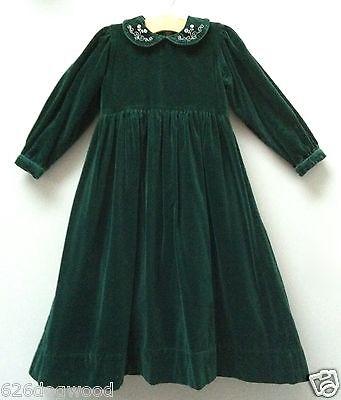 Strasburg Children Boutique Girls 7 Deep Green Velvet Warm Long Party Dress Gown