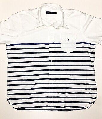 Polo Ralph Lauren White Blue Stripes Mens Button Front Shirt Nautical XXL