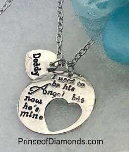 """Silver coloured """"You are my angel daddy""""  adjustable necklace."""