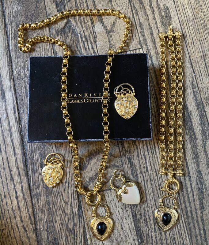 Vintage JOAN RIVERS Rolo Chain Heart Pendant Necklace/Charm Bracelet Set