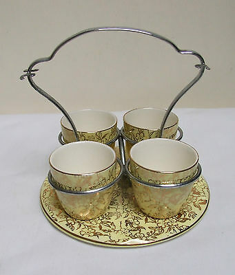 MAYELL ENGLAND LEMON GILT CHINTZ 4 EGG CUP SET CHROME HANDLE 5 piece VINTAGE