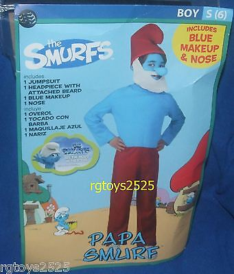 The Smurfs PAPA SMURF Costume New Size Small 6 S Boys 4-6 Small Child (Papa Smurf Costumes)