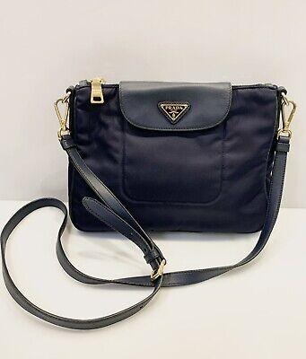 Prada Tessuto Nylon Saffiano Leather Small Crossbody Bag Clutch Dark Blue