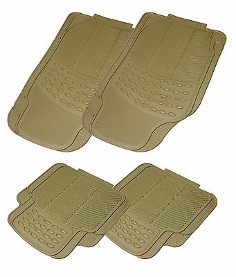 4pc BEIGE Brown Rubber Rubberised Car Floor Mats Sets Waterproof Non Slip Back