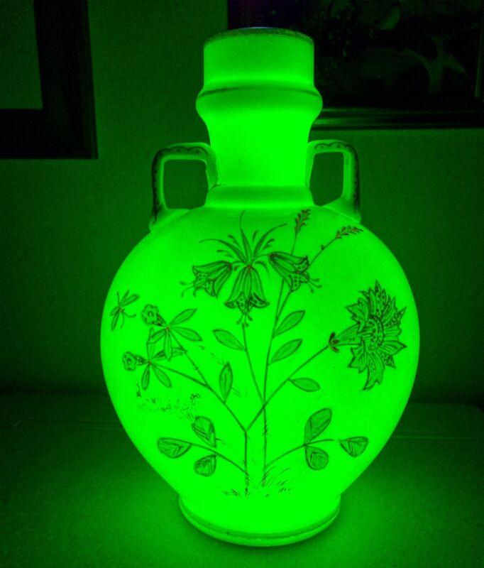 Hand Painted Radium Glass Vase Vaseline 30s 40s Opaque Rare