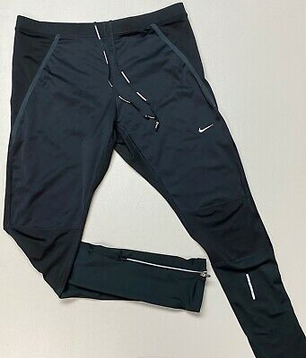 Nike DRI-FIT Men's Poly Spandex Tapered Zip Ankle Pants Black ReflectIve Size XL