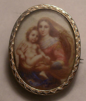 fine antique hand painted Raphael Madonna Christ gold plated pin