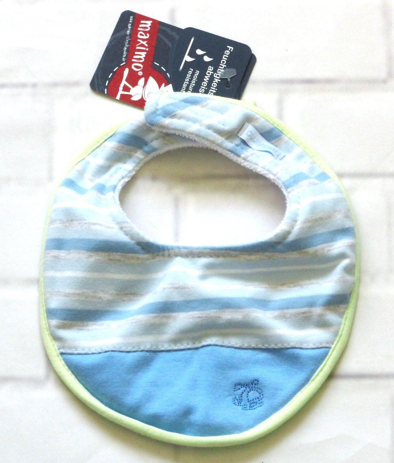 MaxiMo Latz Baby Jungen Spucktuch Tuch Feuchtigkeitsabweisend Blau Gr. 0 NeU
