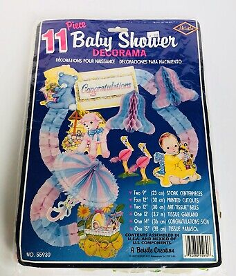 Vintage Baby Shower Decorations (Vintage 1979 Beistle Baby Shower Decorations 11 Pieces)