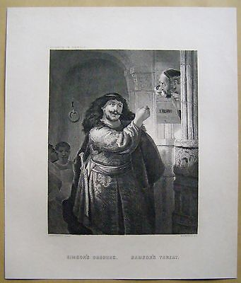 Simsons's Drohung Samson's Threat  Rembrandt Steel engraving Stahlstich 1877