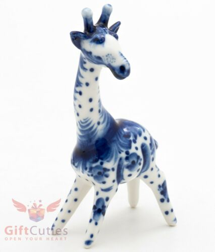 Porcelain gzhel Giraffe figurine handmade Гжель