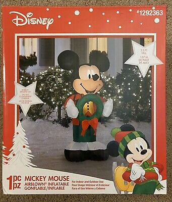 Gemmy/Disney Mickey Mouse with Green Wreath Airblown Inflatable, 3.5 feet, NIB