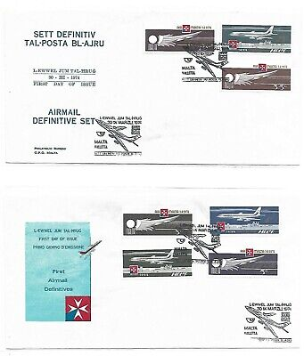 Malta ( Airmail Definitive )  1974 Set of 7 Stamps on 2 First Day Covers