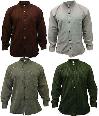 Mens Stripe Hippie Grandad Shirt Full Sleeve Light Casual (Mens Hippie Fashion)