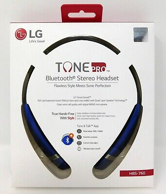 New LG Tone Pro HBS-760 Blue Wireless Bluetooth Stereo Headset Premium Neckband