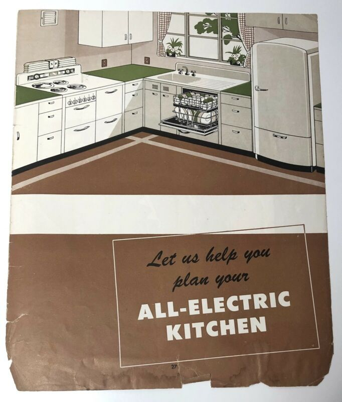Vintage 1930s All-Electric Kitchen magazine advertisement ad family scene