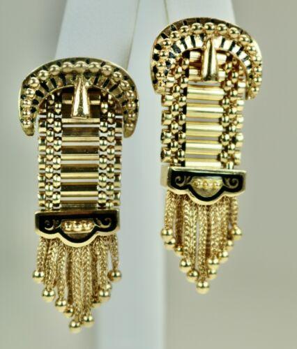 """Antique 14K Yellow Gold Earrings Damascene Buckle Chain Tassels 1.5""""h Drop c1900"""