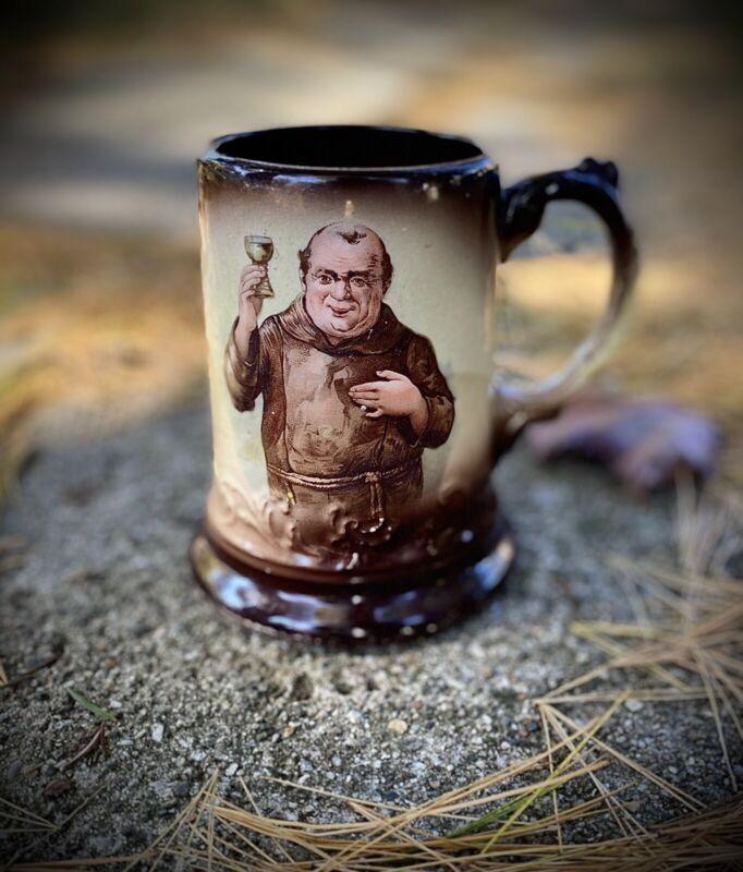 """Antique 1890s J & E Mayer Friar Monk Figural Beer Mug Stein DUG 5.25"""""""