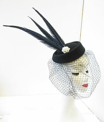 Black Pillbox Birdcage Veil Feather Fascinator Headpiece Pearl Vintage 1940s T84