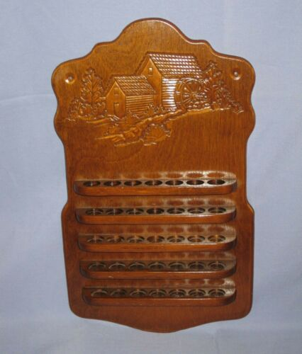 Vintage Wood Thimble Display Holder Rack Water Mill/Barn Scene Holds 35 Thimbles