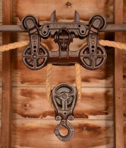 BEAUTIFUL Vintage 1894 LOUDEN Standard Hay Barn Trolley Carrier Pulley Farm Tool