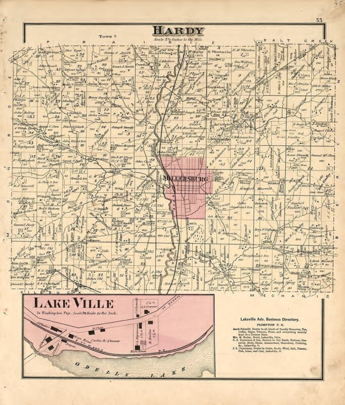 1875 Atlas HOLMES COUNTY OHIO plat maps old GENEALOGY history Land DVD P60