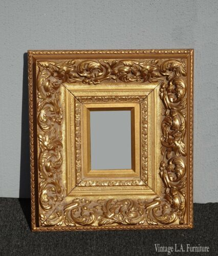 Vintage French Provincial Ornately Carved Gold Picture Frame