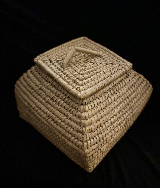 """Handmade Basket- EDM Dhaka Bangladesh """"Snake Charmer' Basket With Lid"""