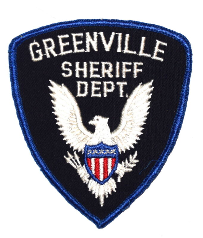 GREENVILLE MISSISSIPPI MS Police Sheriff Patch SILVER EAGLE VINTAGE OLD MESH ~