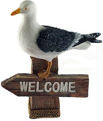 Nautical Seagull WELCOME 17cm Figurine Ornament - Home or Garden