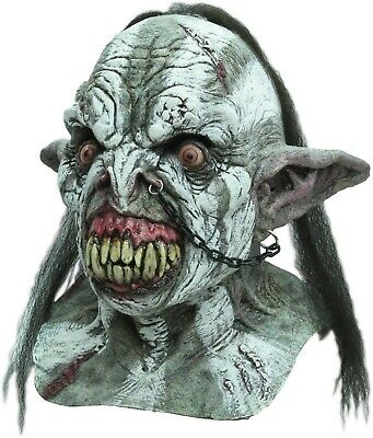 Orc Halloween Masks (Halloween DEMON BATTLE ORC Adult Latex Deluxe Mask Ghoulish)