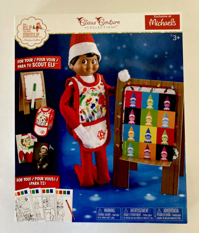 Elf on the Shelf Arctic Artiste Claus Couture Set Smock Easel NEW Michaels Excl.
