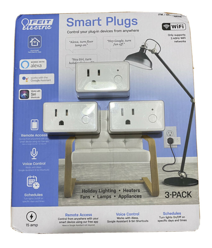 3-pack Feit Electric Wifi Smart Plug Alexa or Google Home