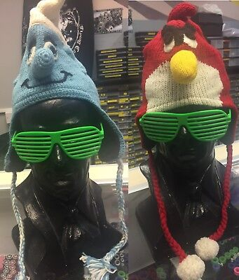 Inca Style Woolen Winter Hat - Blue Smurf and Red Angry Birds - 2526/s - Red Smurf Hat
