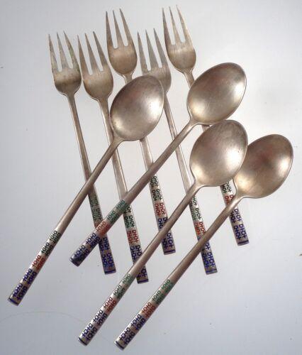 Vintage Silver Enamel Small Dessert Fork & Spoon Set Hallmarked AG 700 130 Grams