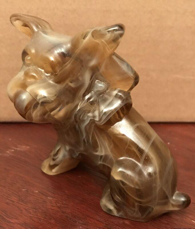 Vintage Caramel Slag Glass Scottie Terrier Dog Figurine Signed G With I Imperial