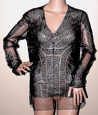 New $2,590.00 Gilles J. Mendel Paris Couture Sheer Top W Tribal Beading Blouse 8
