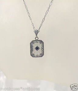FILIGREE-RAYED-CRYSTAL-w-SAPPHIRE-PENDANT-NECKLACE