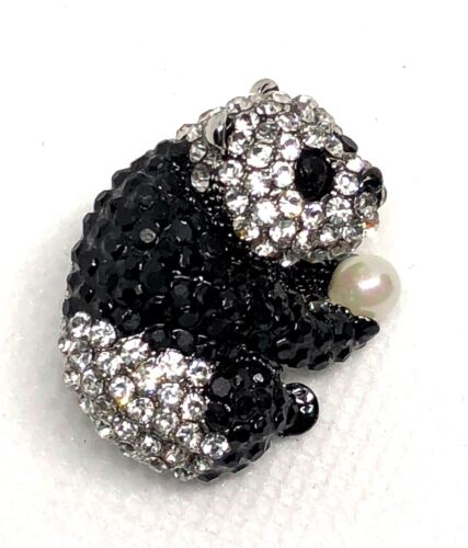 "Panda bear Brooch pin 1""x 1"" GIFT silver  tone gift idea #3 mothers day party"