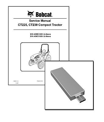 Bobcat Ct225 Ct230 Compact Tractor Workshop Repair Service Manual Usb Stick Dl