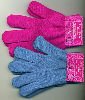 Acrylic Knit Wrist Gloves Black Turquoise or Pink One Size Stretch Adult / Child - Childrens Black Gloves
