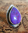 SALE Purple Turquoise Ring, size 6 3/4 US, two tone, Calming Gem