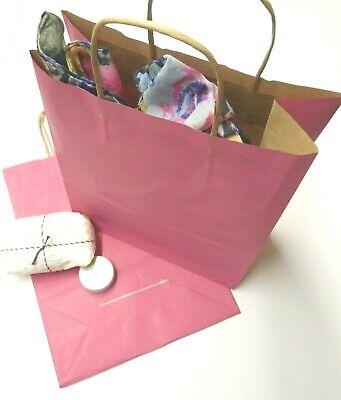 100 Pink Twist Handle Paper Carrier Bags 10