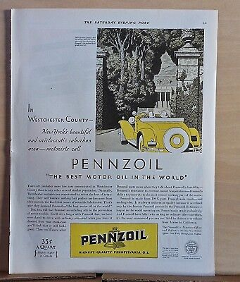 1930 magazine ad for Pennzoil - Used by suburbanites in Westchester County NY