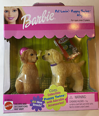 NIB BARBIE Pet Lovin Puppy Twins Afghans with Adorable Accessories